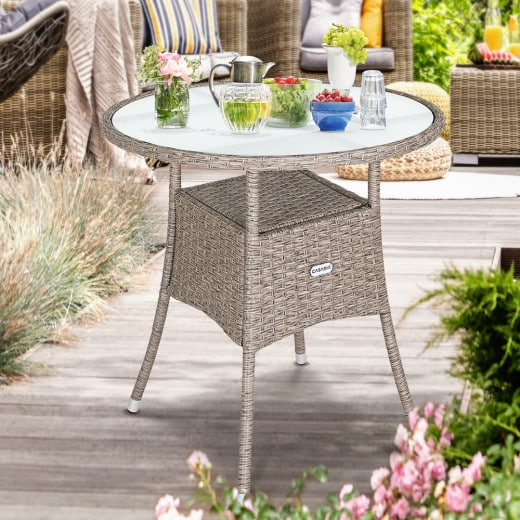 Table en polyrotin rond - Ø60cm - beige pour jardin balcon meuble table d''appoint