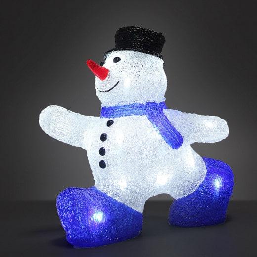 Figurine lumineuse LED acrylique décoration de Noël - Bonhomme de neige M