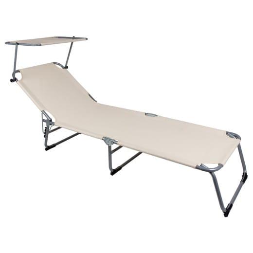 Chaise longue de jardin Transat beige Pliable Pare-soleil - Bain de soleil