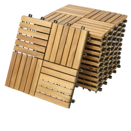 11x Dalles de terrasse en bois pour 1m² en bois d'acacia - 30x30cm terrasse