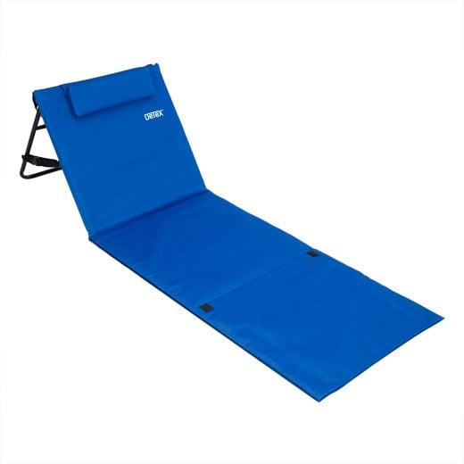 Tapis de plage 158cm x 56cm bleu avec dossier et sangles