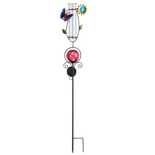 Lampe solaire pluviomètre décoratif Rouge