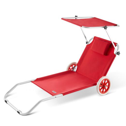 Chaise longue CRÊTE en aluminium avec pare soleil - Rouge