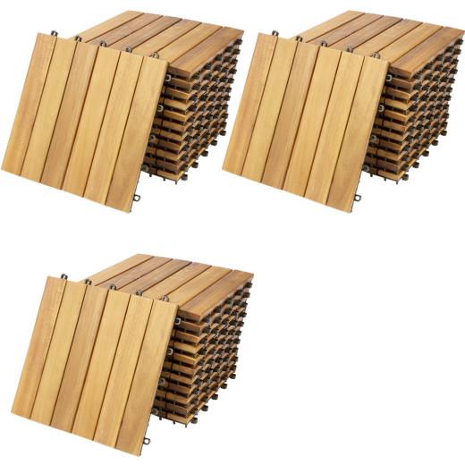 33x Dalle de terrasse clipsable en bois d'acacia 30x30 cm