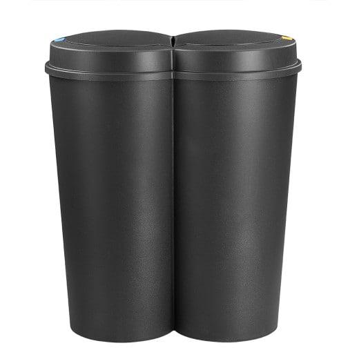Poubelle double 2 x 25L noir