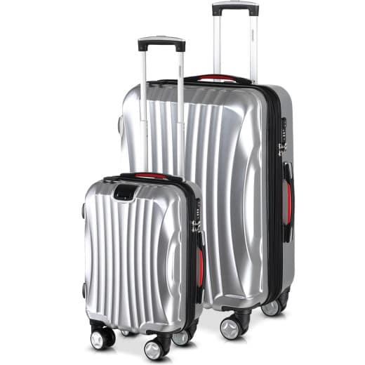 Set de 2 valises rigides Ikarus M/XL argent port USB poignées roulettes vacances