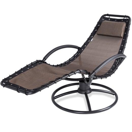 Chaise longue de relaxation Eve moka fonction bascule coussin acier laqué jardin