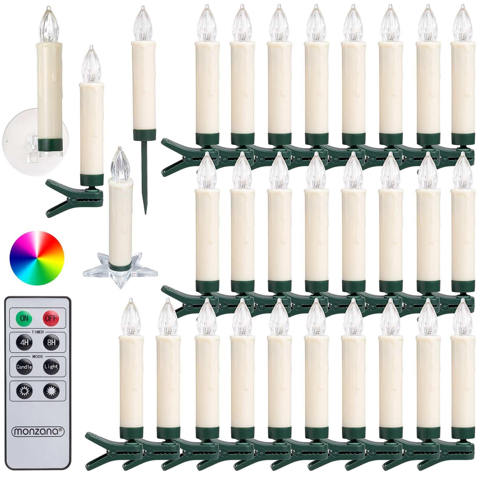 30x Bougies de Noël LED multicolore