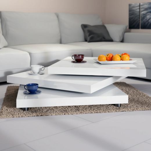 Table basse New York rotative 60x60cm - blanc laqué