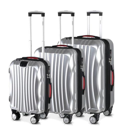Set de 3 valises rigides Ikarus M/L/XL argent avec poignée télescopique