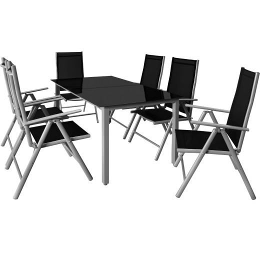 Ensemble table et chaises Bern noir 7 pièces en alu