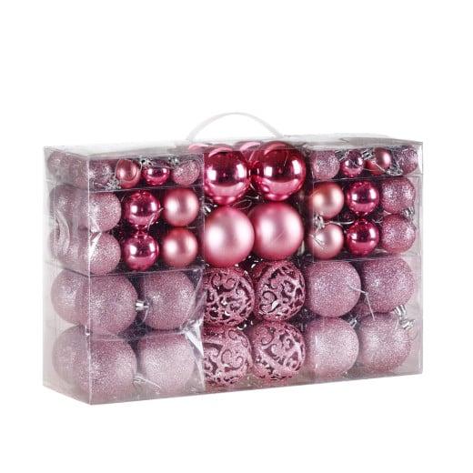 Lot de 100 boules de Noël roses