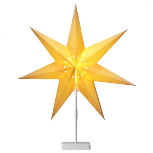 Papierstern LED Creme Ornament mit Ständer
