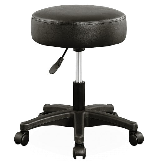 Tabouret noir à roulettes - Pivotable 360°