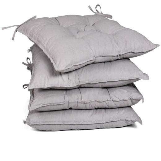 4x Coussins de chaise gris clair 40x40x8cm