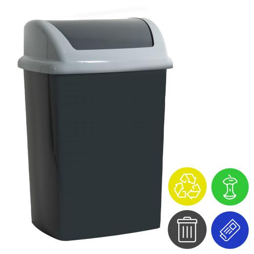 Mülleimer Antrazit Kunststoff 24L Schwingdeckel