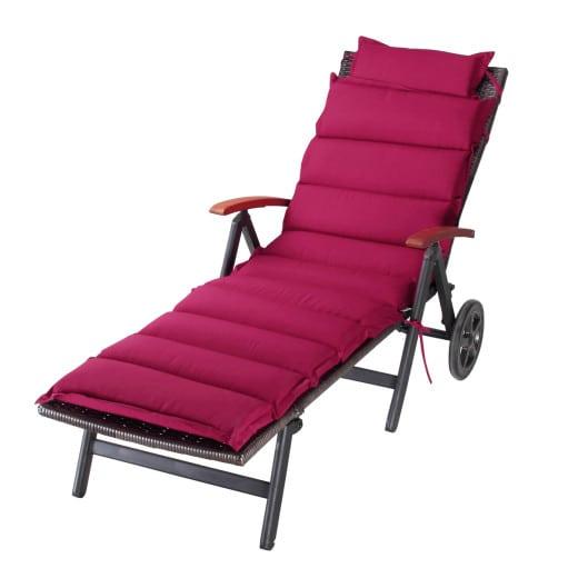 Coussin rouge pour chaise longue rouge 183x56x7cm