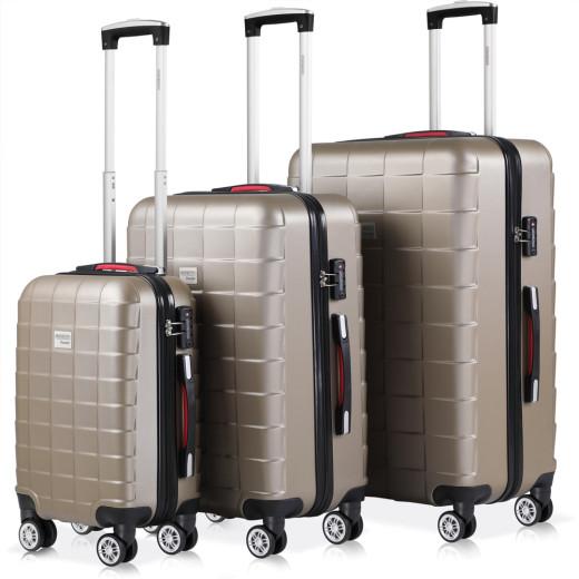 Set de 3 valises rigides champagne voyages rangement bagages vacances serrure