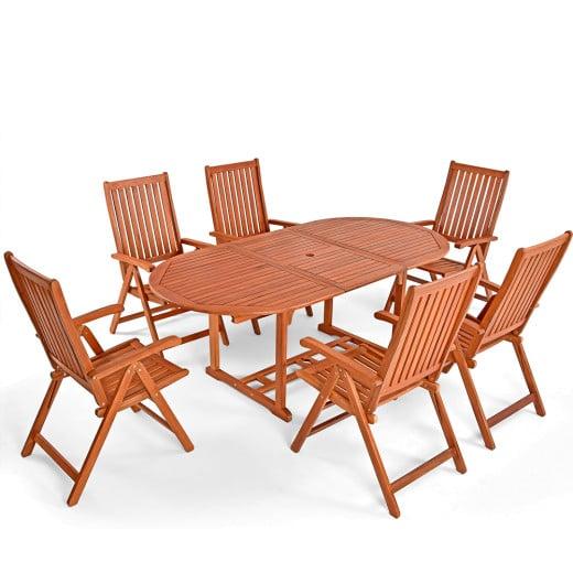Salon de jardin Vanamo - Ensemble 7 pièces table et chaises en bois d'eucalyptus