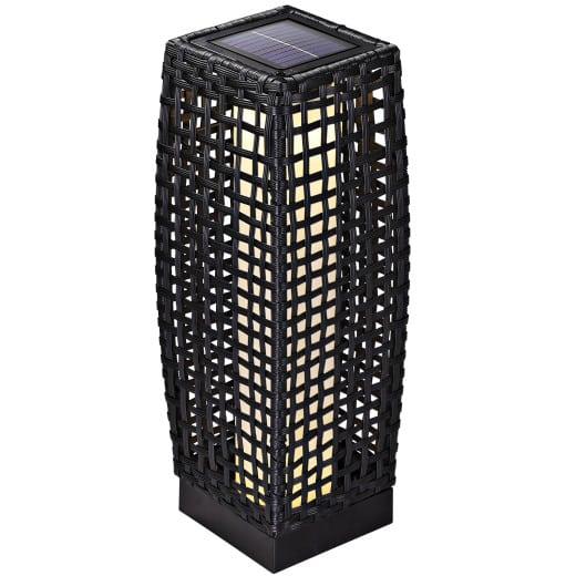 Lampe solaire jardin polyrotin noir 50cm panneau solaire 25 LED IP44 robuste