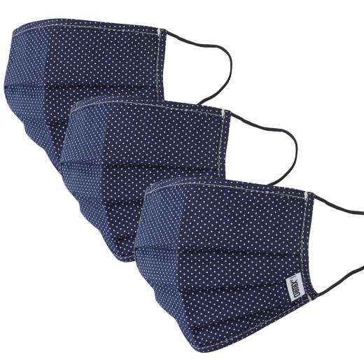 Lot de 3 masques 100% coton Bleu/Points