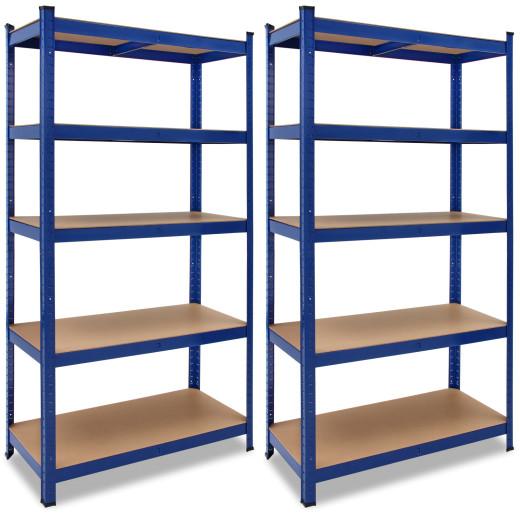 2 blaue Schwerlastregale aus pulverbeschichtetem Metall - 180x90x40cm - max. Kapazität 875kg