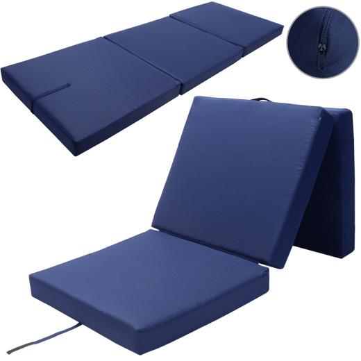 Matelas pliant bleu 190x70x10cm Pliable en 3 Matelas lit - 100% Polyester