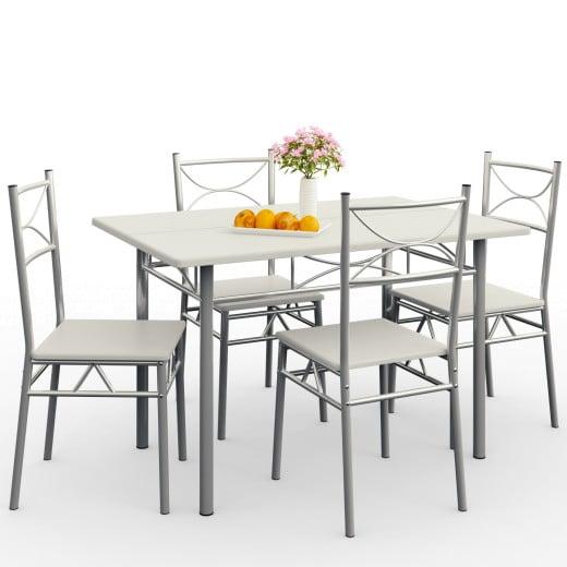 """Ensemble table et chaises """"Paul"""" blanc écru 5 pièces"""
