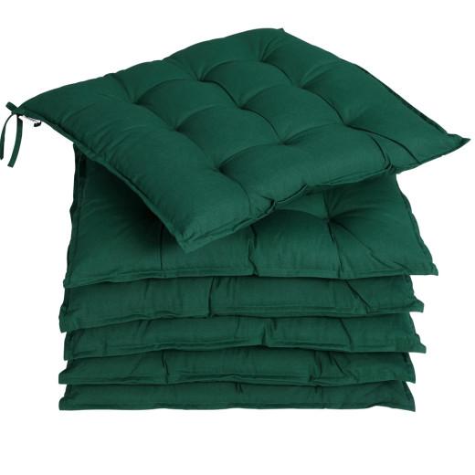 6x Coussins de chaise vert fibres creuses intérieur extérieur sièges