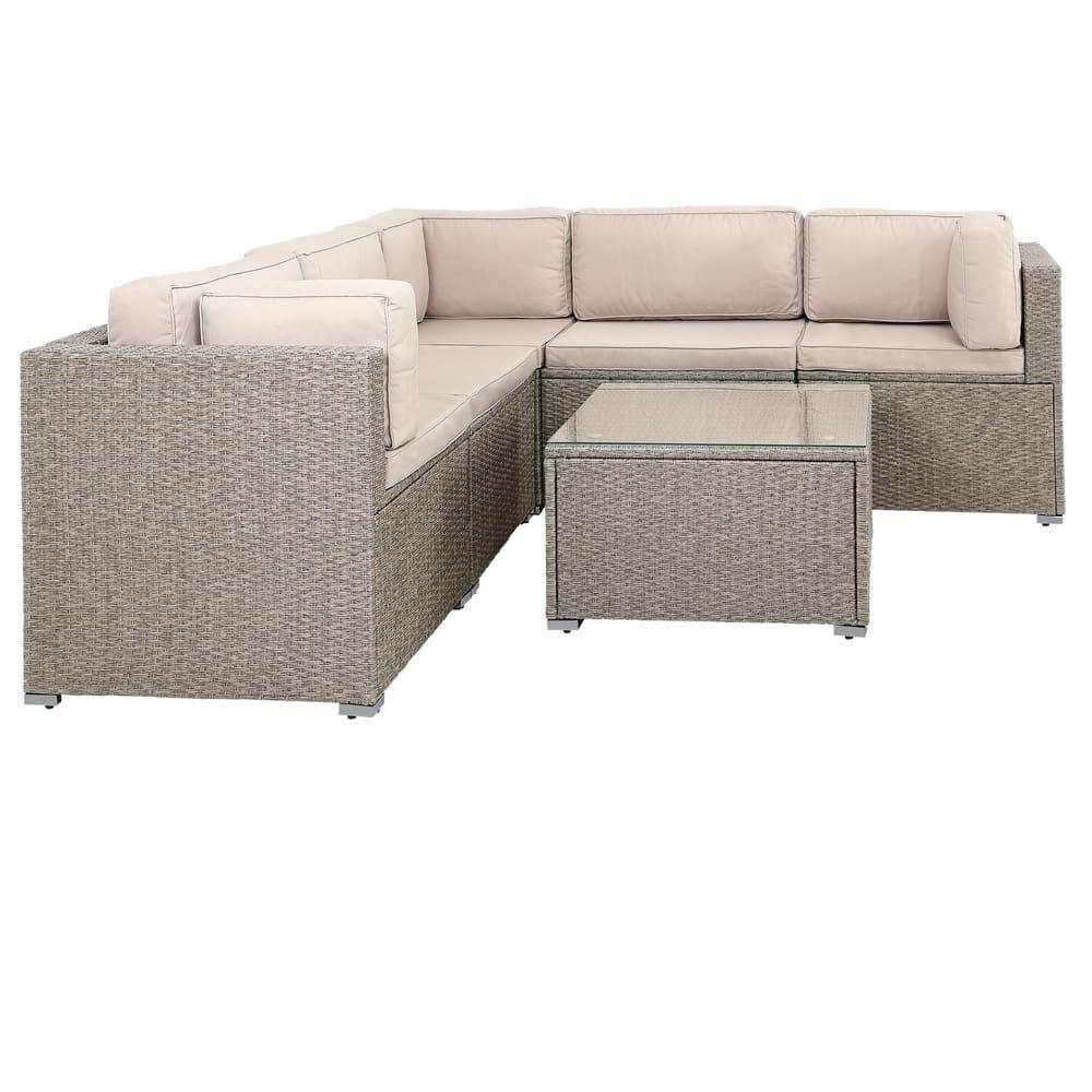Salon de jardin canapé lounge 20 pièces crême coussin table plateau verre meuble