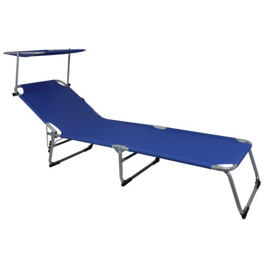 Chaise longue de jardin bleu pliable avec pare-soleil