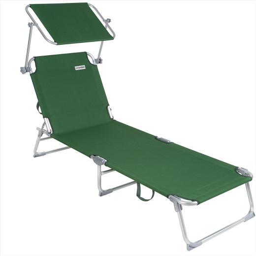 1x Chaise longue Alu Ibiza - Pare soleil intégré réglable - Couleur vert