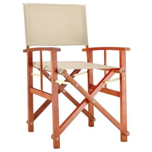 Chaise de jardin pliable crème Cannes en bois eucalyptus