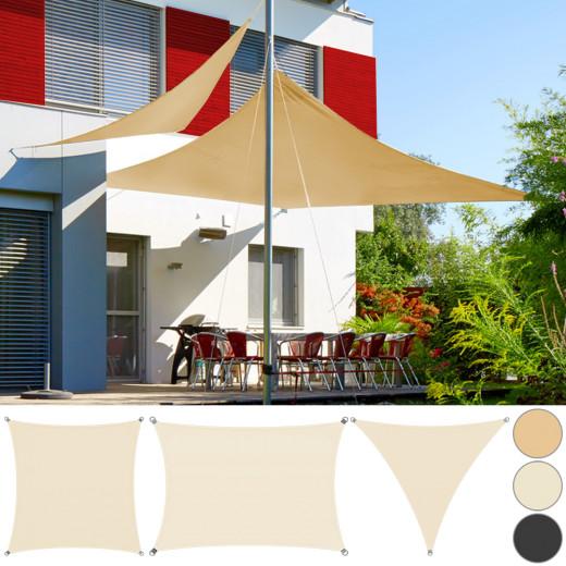 Voile d'ombrage Auvent PEHD Triangulaire 3x3x3m Sable Jardin balcon terrasse