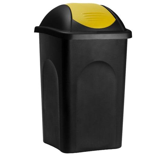 Mülleimer mit Schwingdeckel Kunststoff Schwarz/Gelb 60 Liter