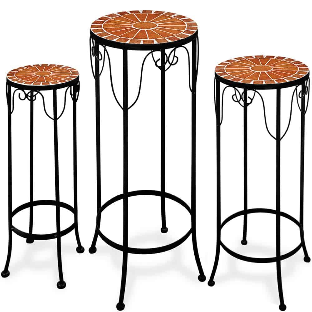 Lot de 3 tables guéridons en mosaique hauteur jusque 70 cm