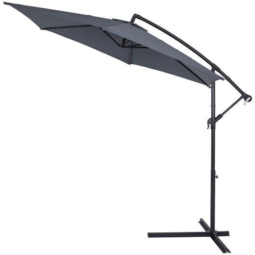 Parasol en aluminium à~ 330 cm GRIS Manivelle Protection UV Pare-soleil