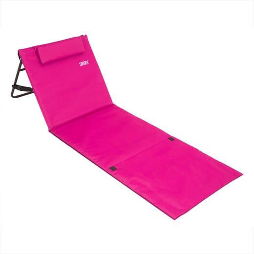 Tapis de plage rose 158cm x 56cm avec dossier réglable