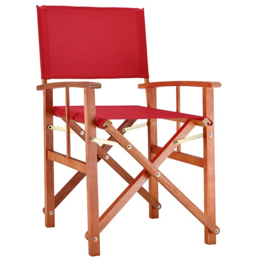 Chaise de jardin pliable rouge Cannes en bois eucalyptus