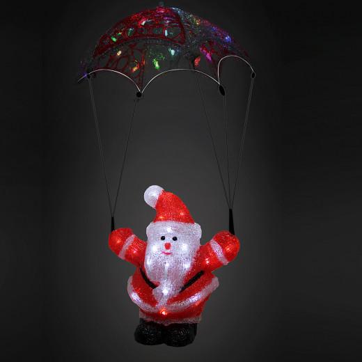 Figurine lumineuse LED acrylique décoration de Noël - Pêre Noël parachute