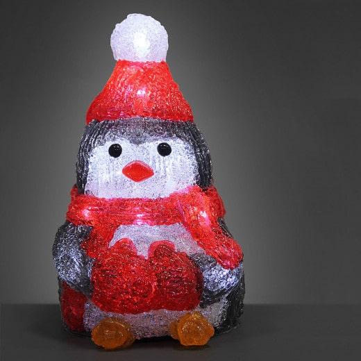 Figurine lumineuse LED acrylique décoration de Noël - Pingouin