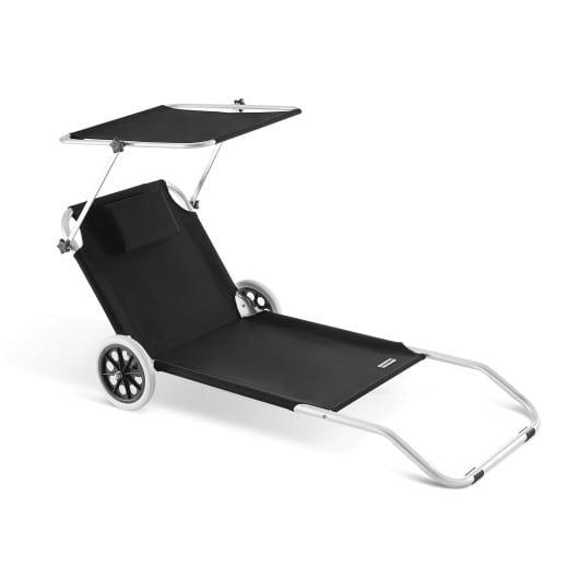 Chaise longue CRÊTE en aluminium avec pare soleil - Anthracite