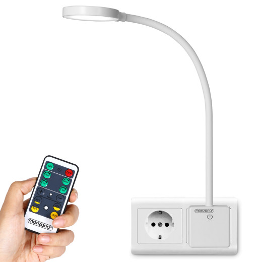 Nachttischlampe in weiß mit Fernbedienung