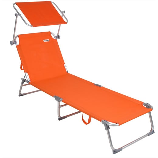 1x Chaise longue Alu Ibiza - Pare soleil intégré réglable - Toile orange