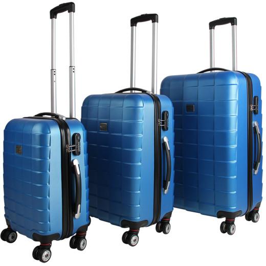 Set de 3 valises étui rigide avec verrou pour business voyage - bleu