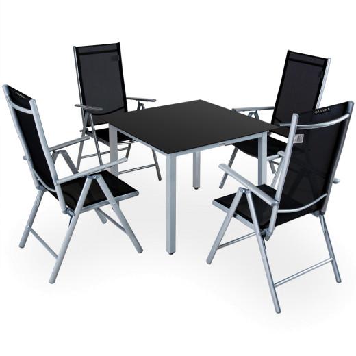 Salon de jardin Bern 5 pièces Gris noir Ensemble table chaises en alu jardin
