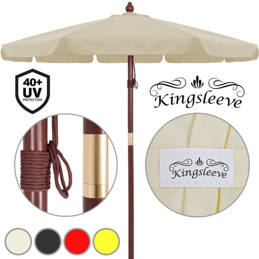 Parasol en bois à~330cm - Imperméable ouverture aération - Jardin terrasse