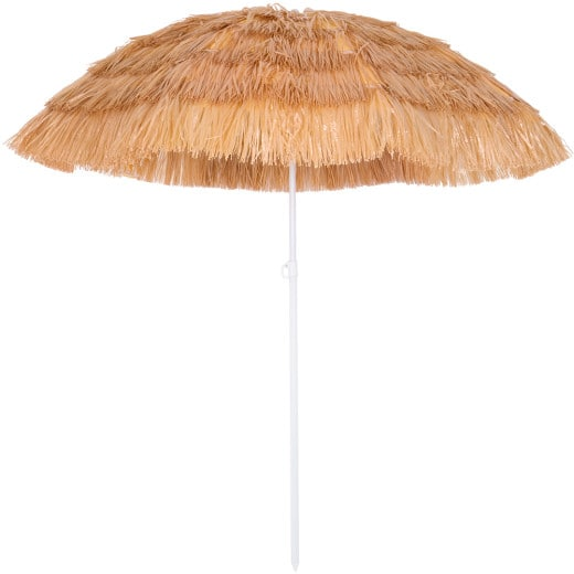 Parasol Hawaii - à~ 160 cm - Naturel - Inclinable pour jardin terrasse plage
