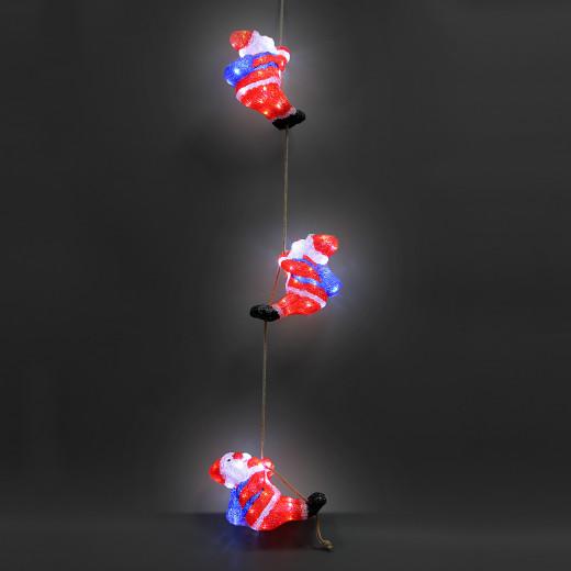 Figurines lumineuses LED acrylique décoration de Noël - Trio de Pêre Noël