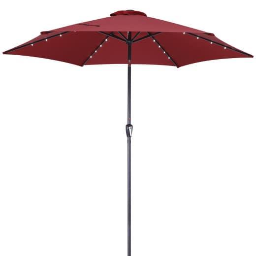 Parasol aluminium rouge à~300cm 24 LED solaire manivelle inclinable